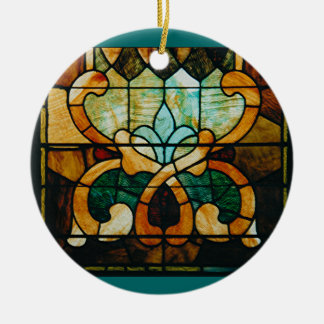 Stained Glass Vine, Round Ceramic Ornament