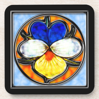 Stained Glass Viola Beverage Coaster