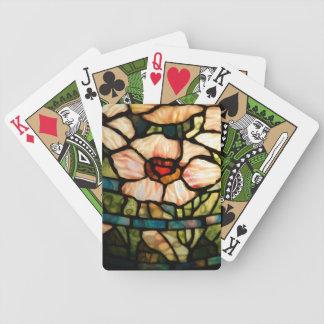 stained glass white poppy card decks