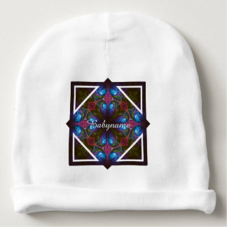 Stained Glass Window Abstract Fractal Personalized Baby Beanie