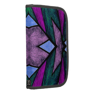 Stained Glass Window Abstract Geometric blue Folio Planners