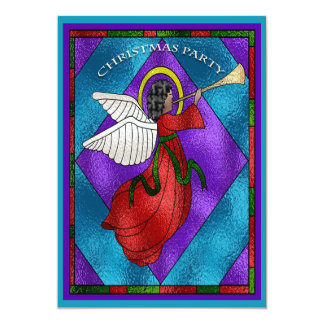 Stained Glass Window Angel Christmas Party Card