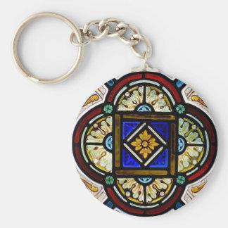 Stained Glass Window Basic Round Button Keychain