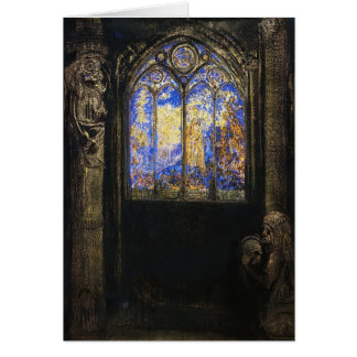 Stained Glass Window by Odilon Redon Card