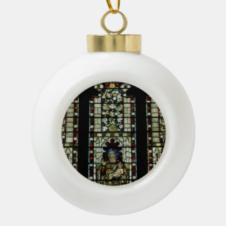Stained glass window ceramic ball christmas ornament