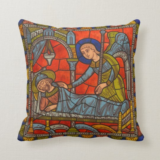 Stained Glass Window Chartres Medieval Angel Throw Pillow