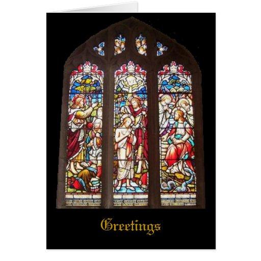 Stained glass window christmas card zazzle