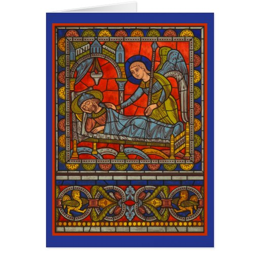 Stained Glass Window Christmas Card Joseph's Dream
