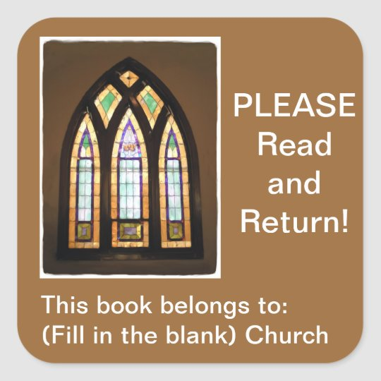 Stained Glass Window Church Book Square Sticker