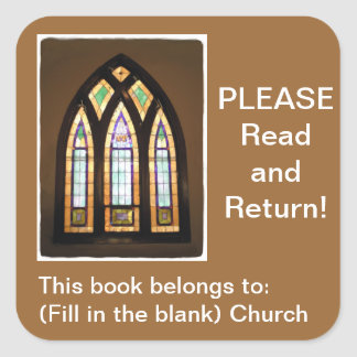 Stained Glass Window Church Book Square Stickers
