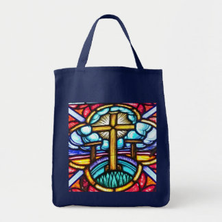 Stained Glass Window Cross Tote Bag