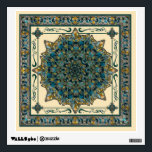 """Stained Glass Window Frame Mandala Decal<br><div class=""""desc"""">A stained glass pattern mandala in teal green,  varying blue and turquoise shades,  and gold accents on a peachy ecru beige.</div>"""