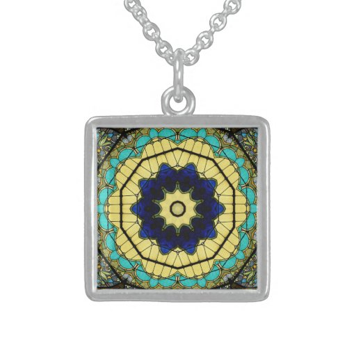 Stained Glass Window Kaleidoscope9 Necklace