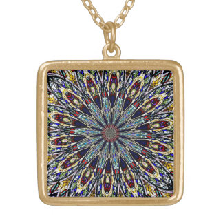 Stained Glass Window Kaleidoscope 1 Gold Plated Necklace