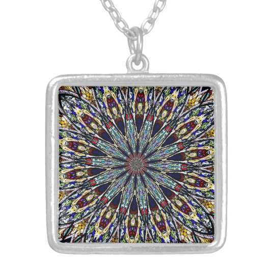 Stained Glass Window Kaleidoscope 1 Silver Plated Necklace