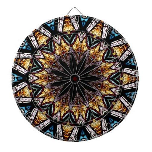 Stained Glass Window Kaleidoscope 4 Dart Boards