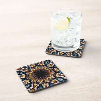 Stained Glass Window Kaleidoscope 4 Drink Coasters
