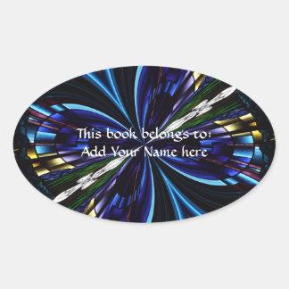 Stained Glass Window Kaleidoscope 9 Oval Stickers