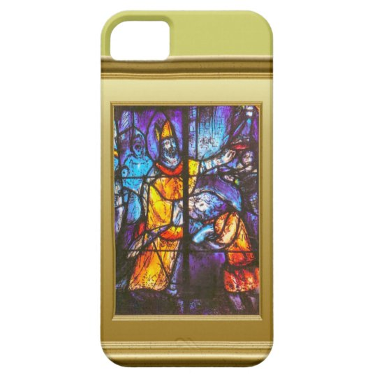 Stained glass window, knight on horseback iPhone SE/5/5s case