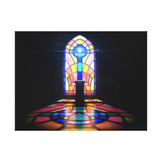 Stained Glass Window Light Through A Church Canvas Print