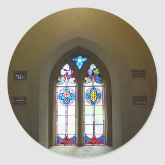 Stained Glass Window Of St Johns Lutheran Church N Round Sticker
