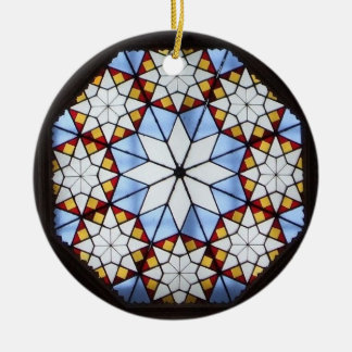 Stained glass window Double-Sided ceramic round christmas ornament