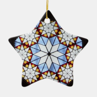 Stained glass window Double-Sided star ceramic christmas ornament