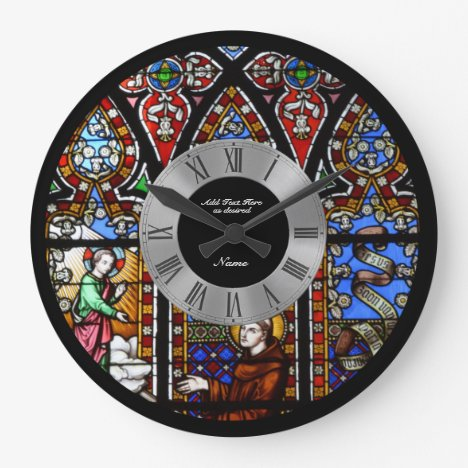 Stained Glass Window Personalized Roman Numerals Large Clock