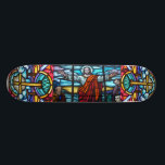 """Stained Glass Window Skateboard<br><div class=""""desc"""">Stained glass window Jesus skateboard.</div>"""
