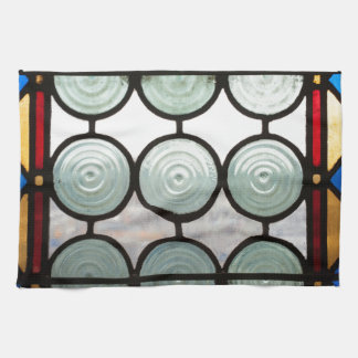 Stained glass windows circles kitchen towel
