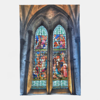 Stained Glass Windows, Salisbury Cathedral, UK Kitchen Towel