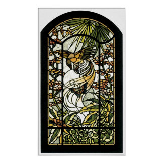 Stained Glass with bird and butterfly Poster