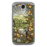Stained Glass with fox and grapes Samsung Galaxy S4 Covers