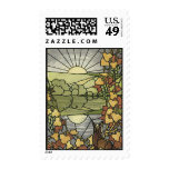 Stained Glass with fox and grapes Postage