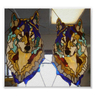 Stained Glass Wolf Pair Print