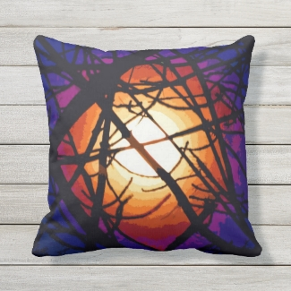 Stained Glass Yellow Moon Abstract Outdoor Pillow