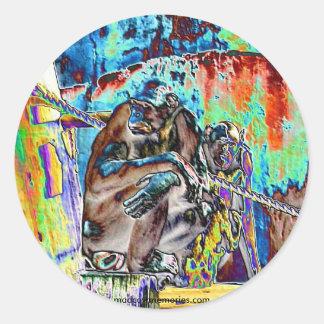 Stained Gorilla Classic Round Sticker