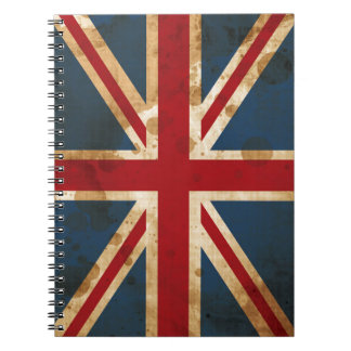 Stained Grunge Union Jack UK Flag Spiral Note Books