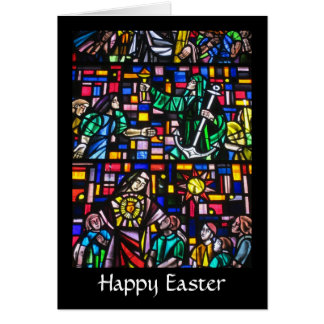 stained happy easter greeting card