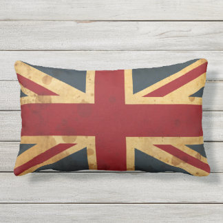 Stained Union Jack UK Flag Outdoor Pillow