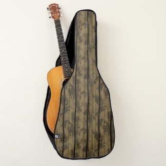 Stained Wood Planks Fence for Acoustic or Electric Guitar Case