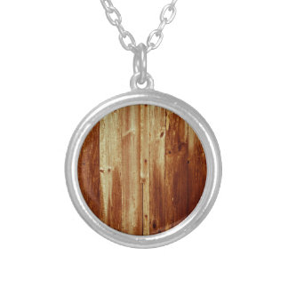 stained wood round pendant necklace