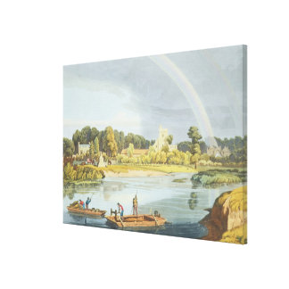 Staines Church with City Stone on Banks of the Riv Canvas Print
