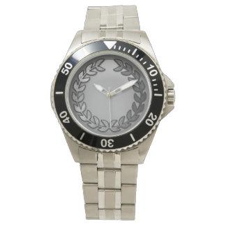 Stainless laurel monogram watch