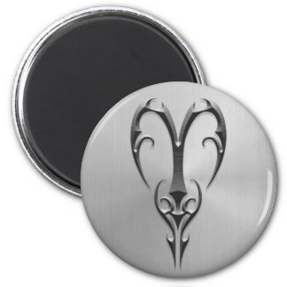 Stainless Steel Aries Symbol 2 Inch Round Magnet