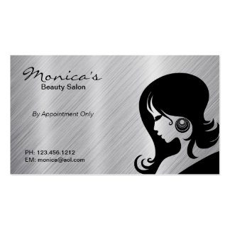 Stainless Steel Beauty Salon w/ Appointment Date Double-Sided Standard Business Cards (Pack Of 100)