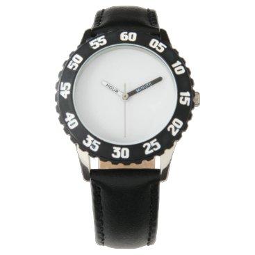 Beach Themed Stainless Steel Black Watch, Adjustable Bezel Wristwatch