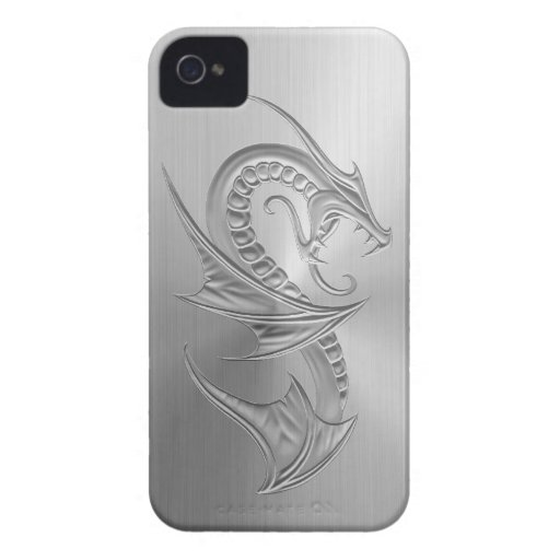 Stainless Steel Effect Dragon Graphic Case-Mate iPhone 4 Case