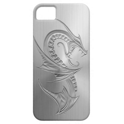 Stainless Steel Effect Dragon Graphic Case For The iPhone 5