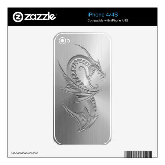 Stainless Steel Effect Dragon Graphic Decals For The iPhone 4S
